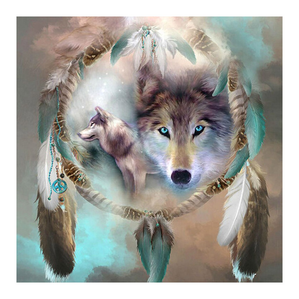 Animal Wolf Moge Diamond Painting Full Round 5D Indian Style DIY Feather Sticking Drill Cross Embroidery Diamond embroidery in Diamond Painting Cross Stitch from Home Garden