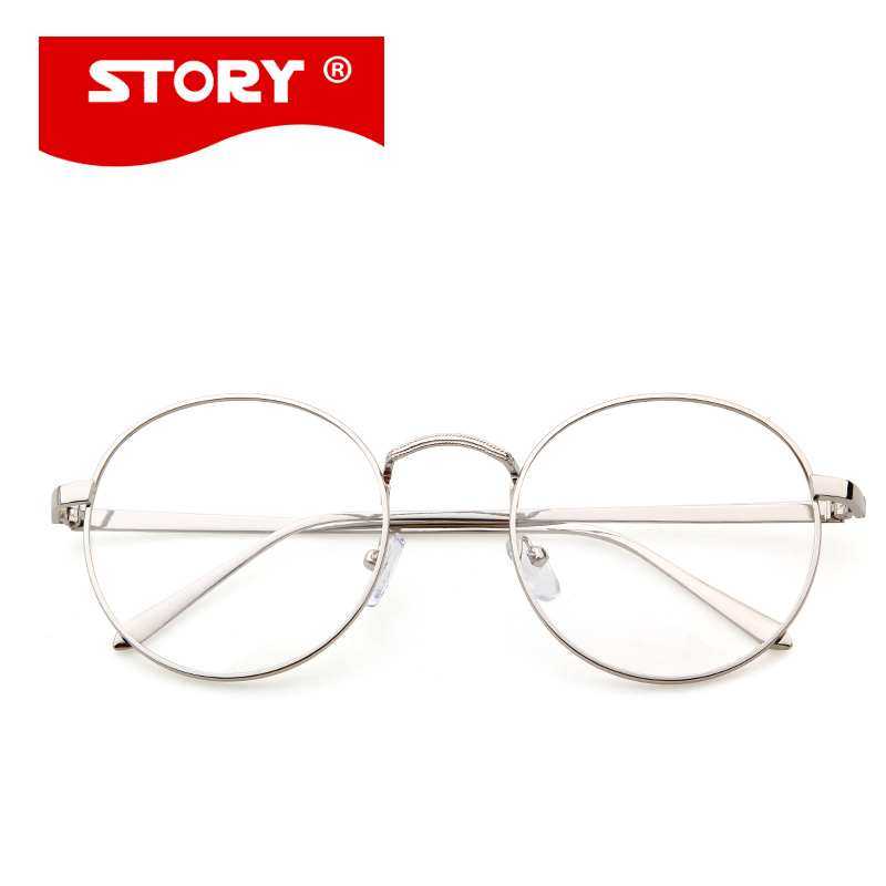 44d0bdd2ed STORY Korean Glasses Frame Retro Full Rim Gold Eyeglass Frame Vintage  Spectacles Round Computer Glasses Unisex NO Degrees 002