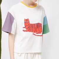 Fashion Summer T Shirts Harajuku Cartoon Tiger Printed Patchwork T Shirts Short Sleeve Shirt Crop Tops