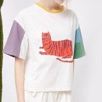 Fashion Summer T Shirts Harajuku Cartoon Tiger Printed Patchwork T Shirts Short Sleeve Shirt Crop Tops