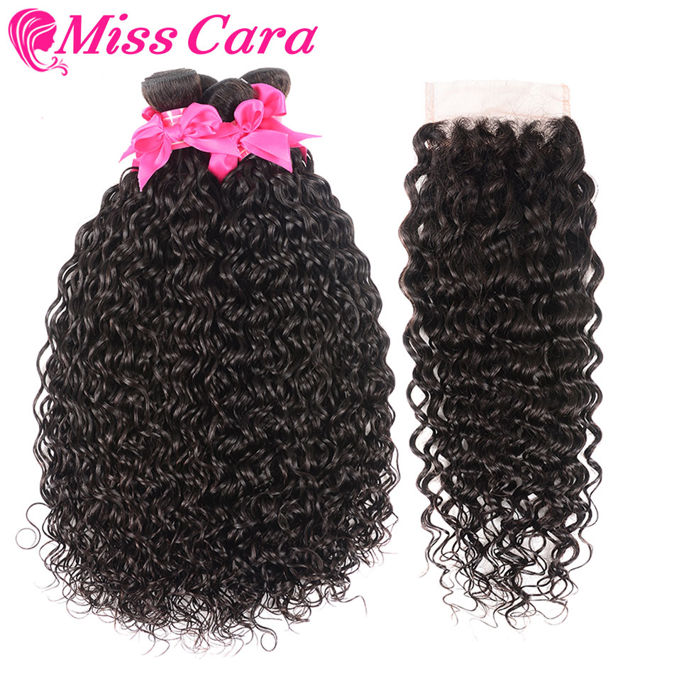 Peruvian Water Wave 3 4 Bundles With Free Middle Part Closure 100 Human Hair Bundles With