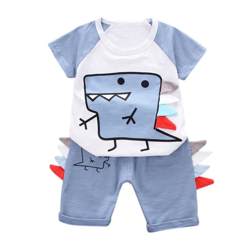 Kids Boys Clothes Sets Casual Cute Cartoon Dinosaur Cotton Baby Boy Clothing Suit Summer