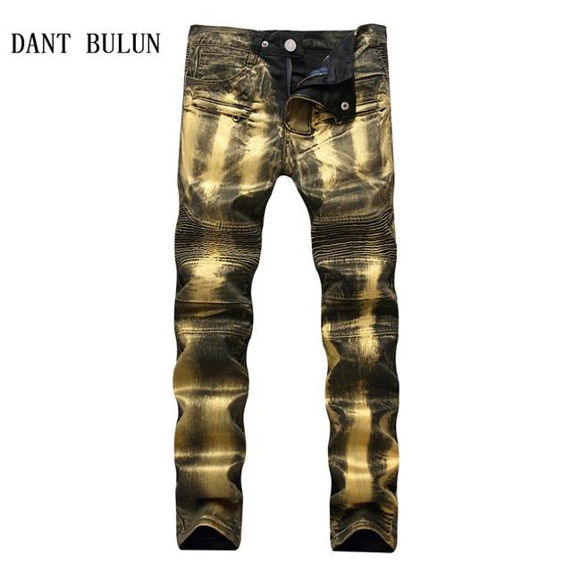 f981ce08 DANT BULUN Men's Biker Jeans Pants Print Gold Silver Coated Slim Skinny  Denim Trousers For Male Pleated Trousers Plus Size 40