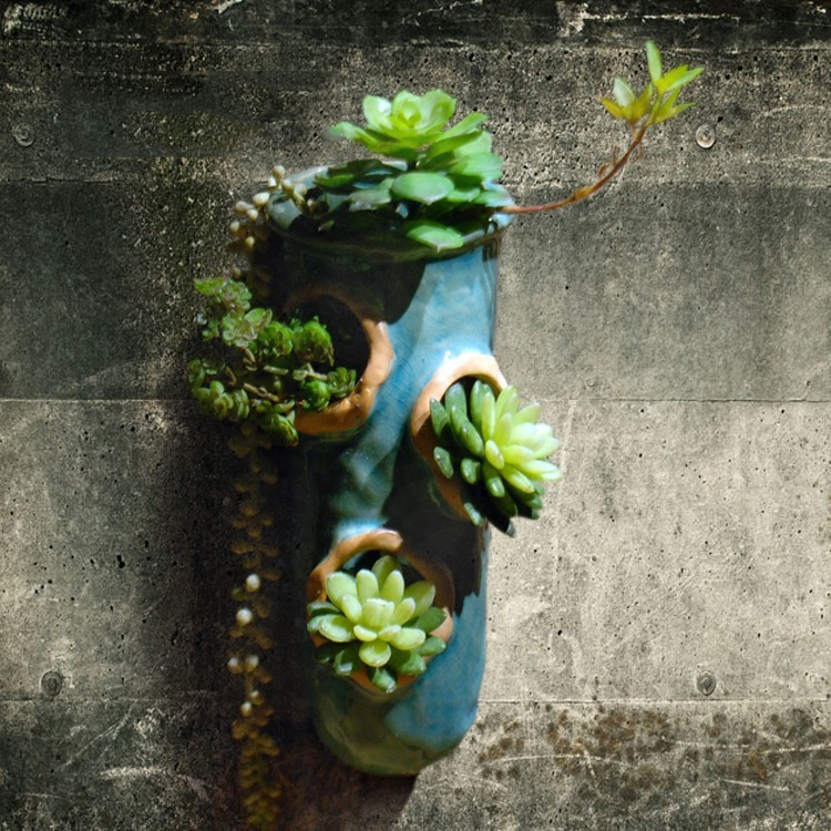 Garden ceramic wall hanging pot original hanging flower inserted corridor balcony wall decoration pendant succulent hanging pot(China)