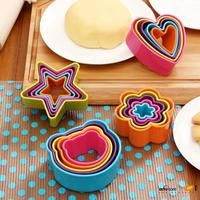High Quality 4size 20pcs Set Lovly Cookies Cutter Molds Rainbow Color Cake Chocolate Mold Biscuit Cutter