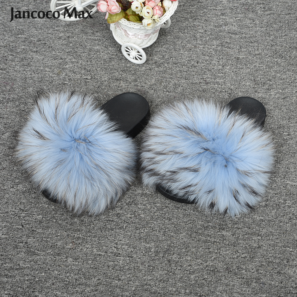 2019 New Colors Real Raccoon Fur Slides Women Fashion Fur Slippers Fluffy Sliders Spring Summer Indoor
