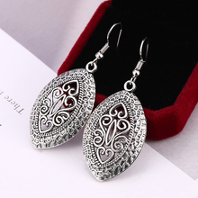 HOCOLE Vintage Metal Silver Drop Earrings For Women 2019 Za Brincos Statement Ethnic Leaf Dangle Earring Female Indian Jewelry