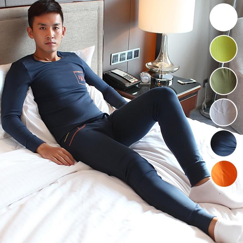 Men Underwear Long Johns Suit Thin O neck Cotton Soft Based Warm Suit HJL914