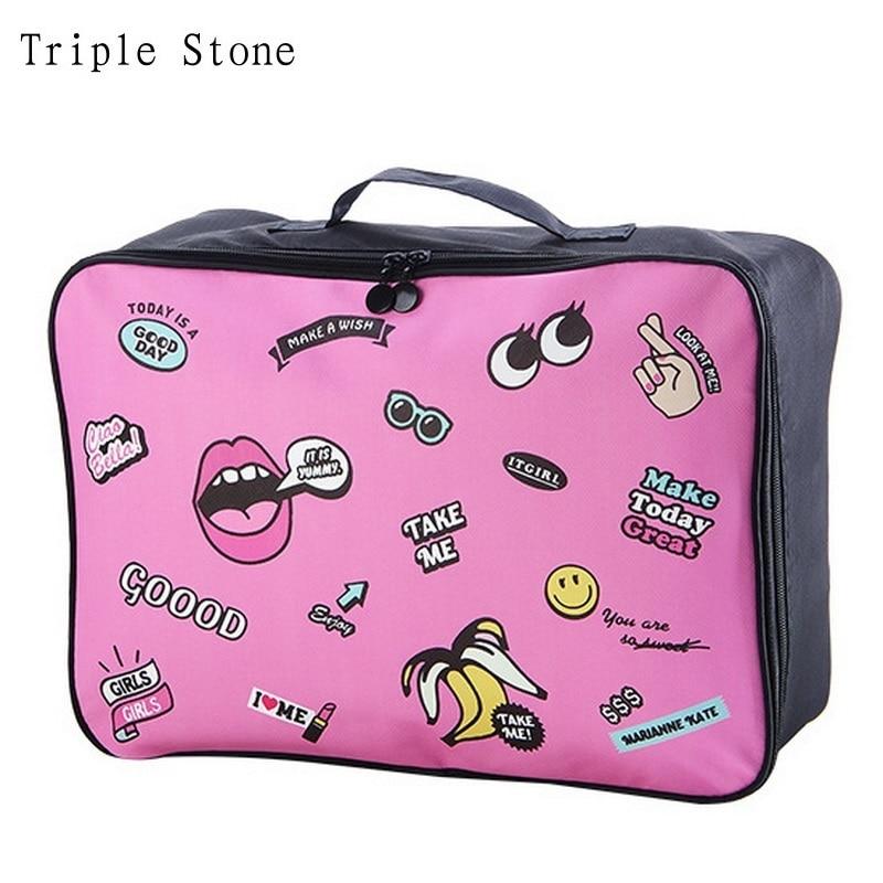 Triple Stone Cartoon Big Graffiti Eyes Printing Big Travel Organizer Storage Bags Waterproof Large Trunk Luggage bag Makeup Case