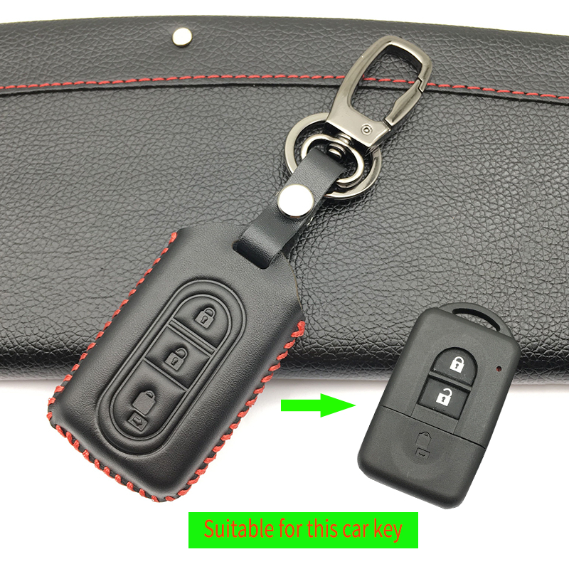 3 Button Fob Shell Car Key 100% Top Layer Leather Case Cover for Nissan Tiida Note Navara Qashqai Micra Juke X-Trail Pathfinder