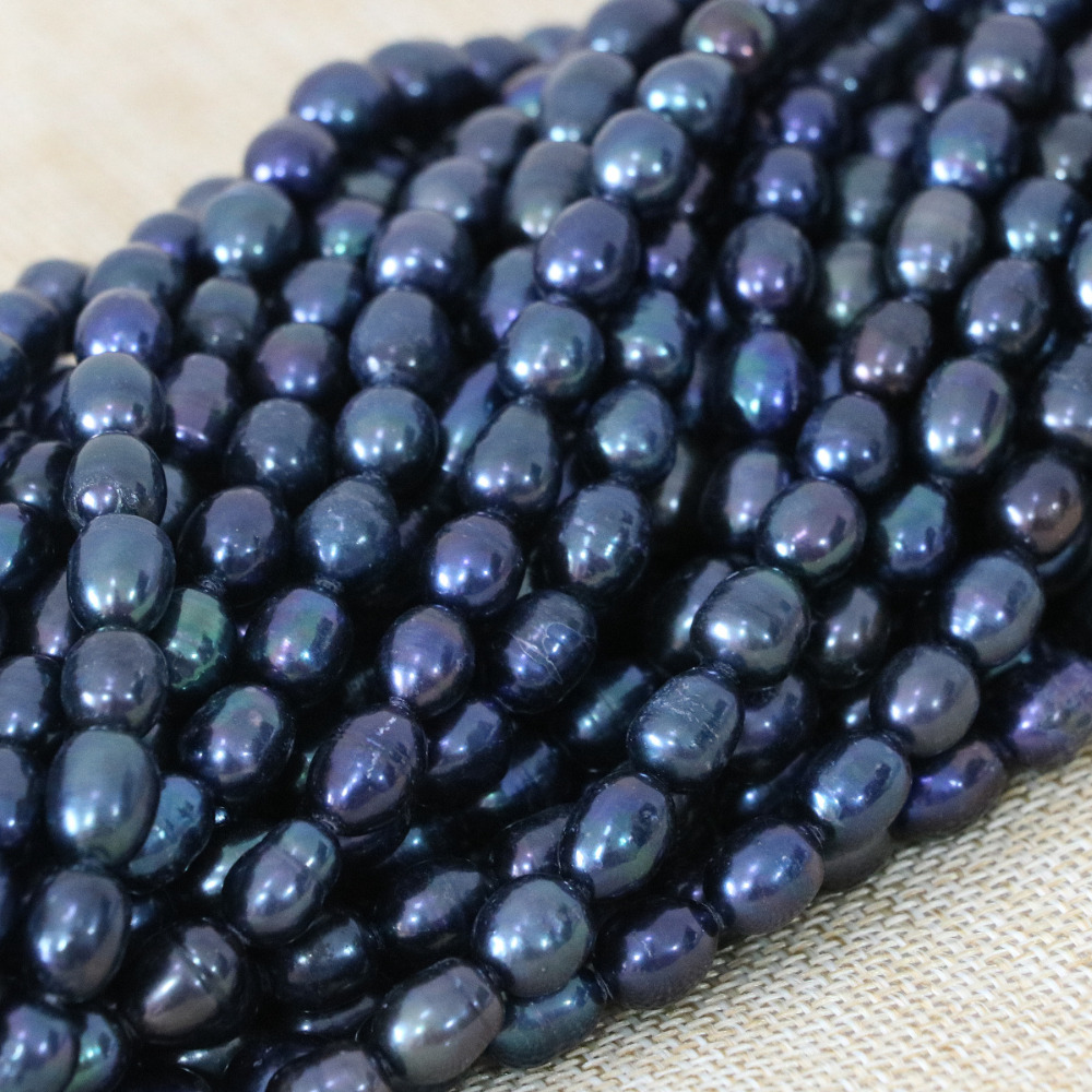 Romantic 7-8mm black natural cultured rice pearl loose beads elegant women fit diy neckalce bracelet jewelry making 15inch B1371
