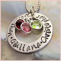 SG personalized Three birthstone necklace for mom custom name Pendant necklaces silver 925 Mothers Jewelry Mothers Day Gift