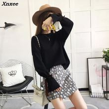 2018 Women Sweater Lantern Sleeve Womens Sweaters For Winter Casual Lady O-neck Xnxee