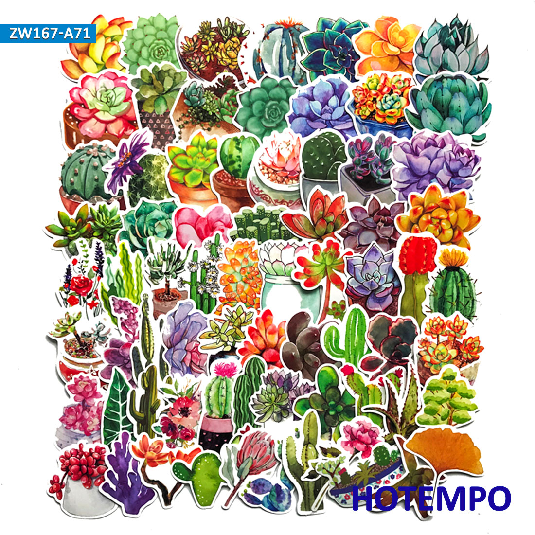 70pcs Cute Succulent Plant Stickers For DIY Home Wall Glass Scrapbooking Decorative Lifelog Diary Mobile Laptop Luggage Stickers
