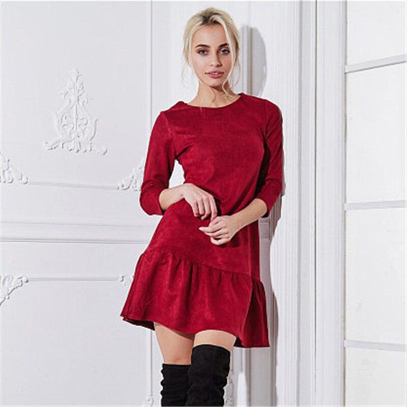 Fall 2018 Women Suede Casual Three Quarter Sleeve T Shirt Mini Dress Autumn Winter Fashion Vintage Ruffle Christmas Dresses 11