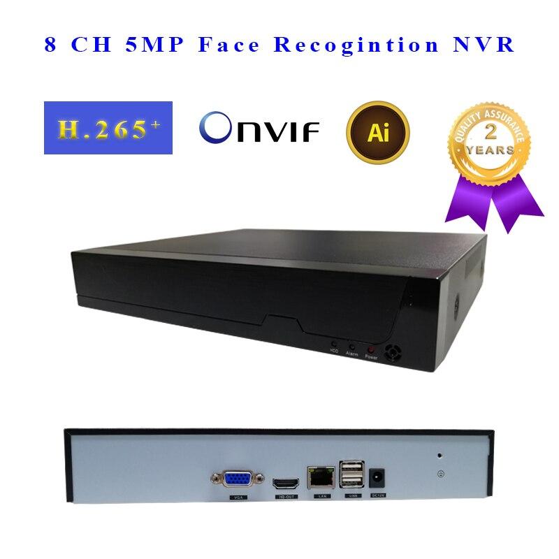 Face Recognition P2P 8 CH NVR IP Gravador De Vídeo Suporta 1 H.265 264 Onvif HDMI + 1VGA Análise De Vídeo Inteligente para Câmera de CFTV IP NVR