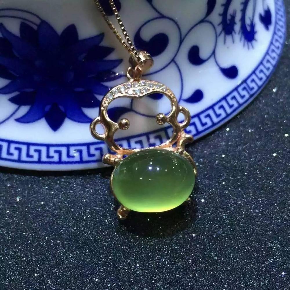natural green prehnite stone pendant S925 silver Natural gemstone Pendant Necklace trendy Elegant Cute monkey women girl jewelry
