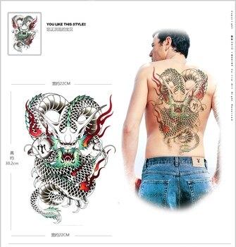 1 unids tatuagem dragón Totem colorido tamaño grande impermeable tatuaje temporal pegatinas para los hombres de nuevo
