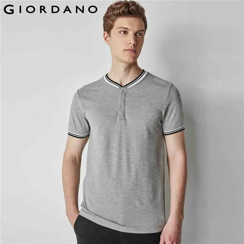 amazon arrives autumn shoes Giordano Men Tee Strips Henley Collar Short Sleeves T-shirt Solid Button  Placket Tops Mens New Arrival
