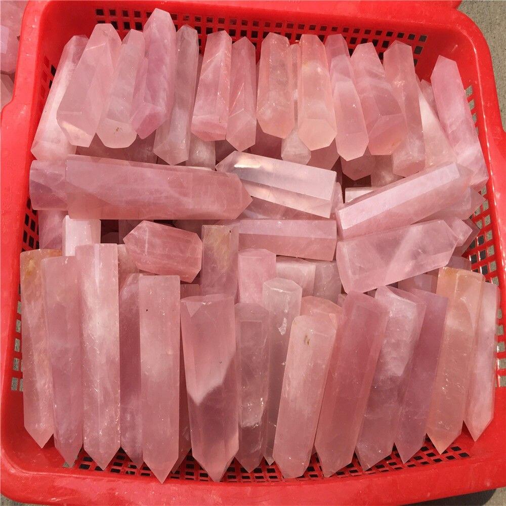 Wholesale 1kg Natural Quartz stone Pink Rose Crystal Obelisk Point Wand Energy Healing wand points