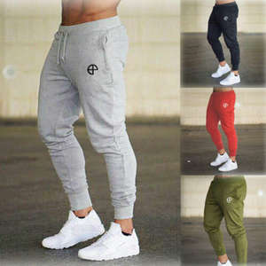 Mens Pants Tracksuit Sweat-Trousers Joggers Slim-Fit Skinny Sport Gym