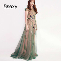 2018 New Year Fashion See Though Sleeveless Moon Stars Embroidery Sequins Long Dress Slim Tunic Voile Mesh Christmas Party Dress