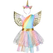 Halloween Mädchen Einhorn Kostüm Regenbogen Pony Geburtstag Tutu Outfits Sparkle Tüll Fancy Dress Up Party Kleid Mit Stirnband Flügel(China)