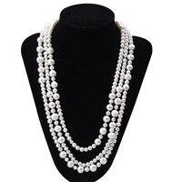 BEST 5 9 Mm Potato Shape 165cm Long Pearl Necklace Natural Pearl Necklace