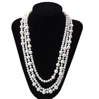 BEST 5 9 Mm Potato Shape 165cm Long Pearl Necklace Natural Pearl Necklace