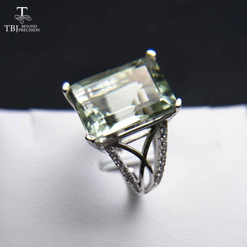 TBJ natural green amethyst prasiolite gemstone Ring in 925 sterling silver fine jewelry for women with