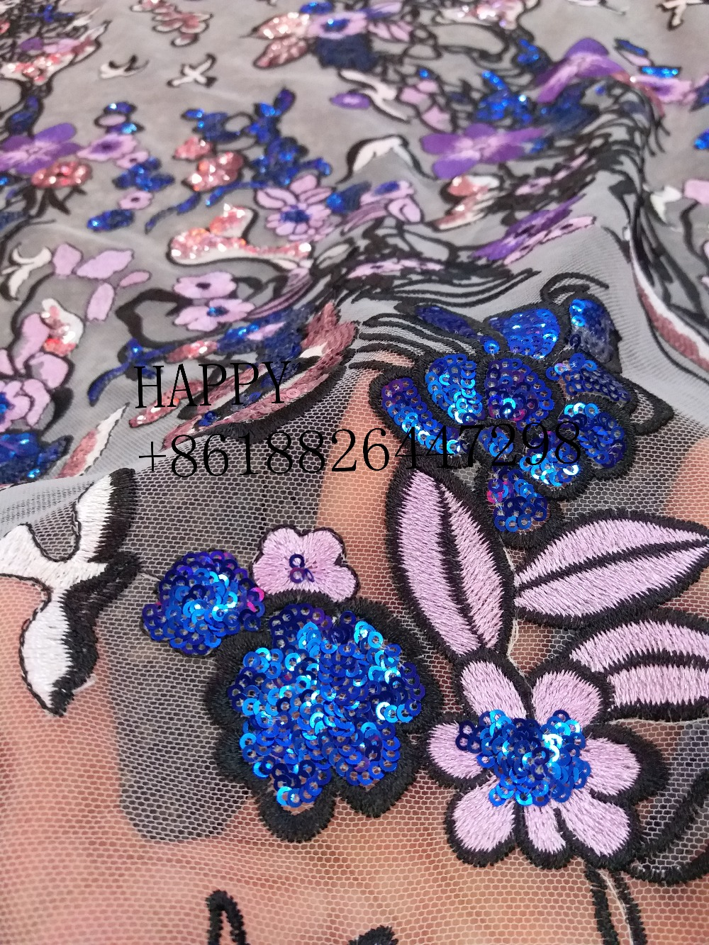 New fashion style mixed color plus beads sequins polyester embroidery in the chiffon net wedding / evening dress lace fabric