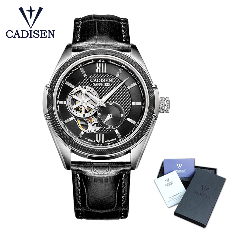 CADISEN New Luxury Golden Mechanical Automatic Wrist Watch Rome  Men Stainless Steel Band Skeleton Dial Mens Watch Time Gift new arrivel white dial mens automatic skeleton mechanical watch with two movement freeship