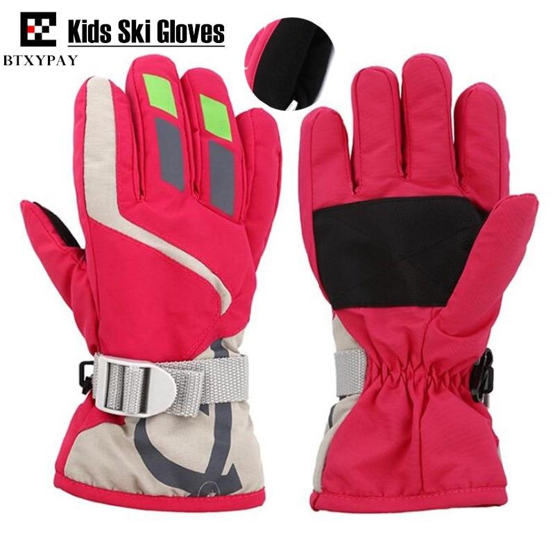 200p Children Ski Gloves,Winter Plus Velvet Warm Kids Boys&Girls Outdoor Sport Skiing Gloves Waterproof Windproof Gloves,4-10age