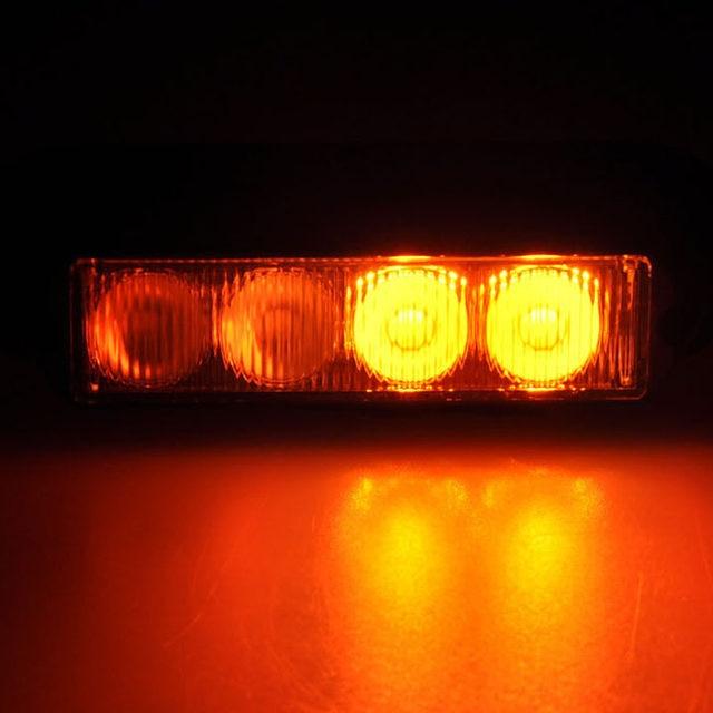 Online shop 2pcs amber 4 led car warning light flashing lamp 2pcs amber 4 led car warning light flashing lamp emergency beacon light bar hazard strobe light ip62 waterproof light aloadofball Gallery