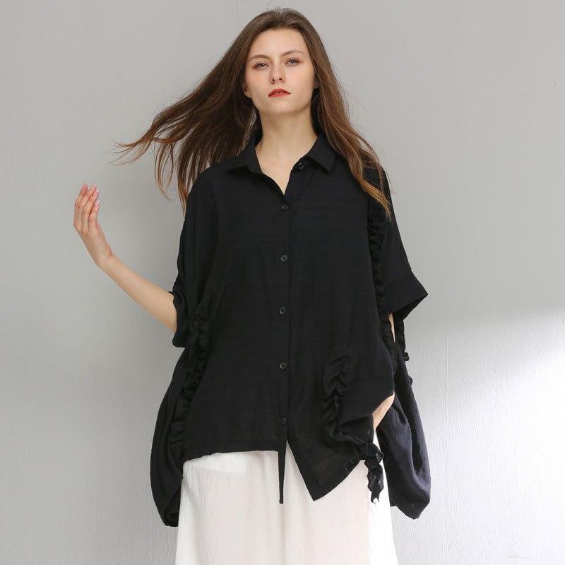 Été femme mode lâche irrégulière chemise col rabattu décontracté street wear asymétrique glands hauts noirs grande taille blouse