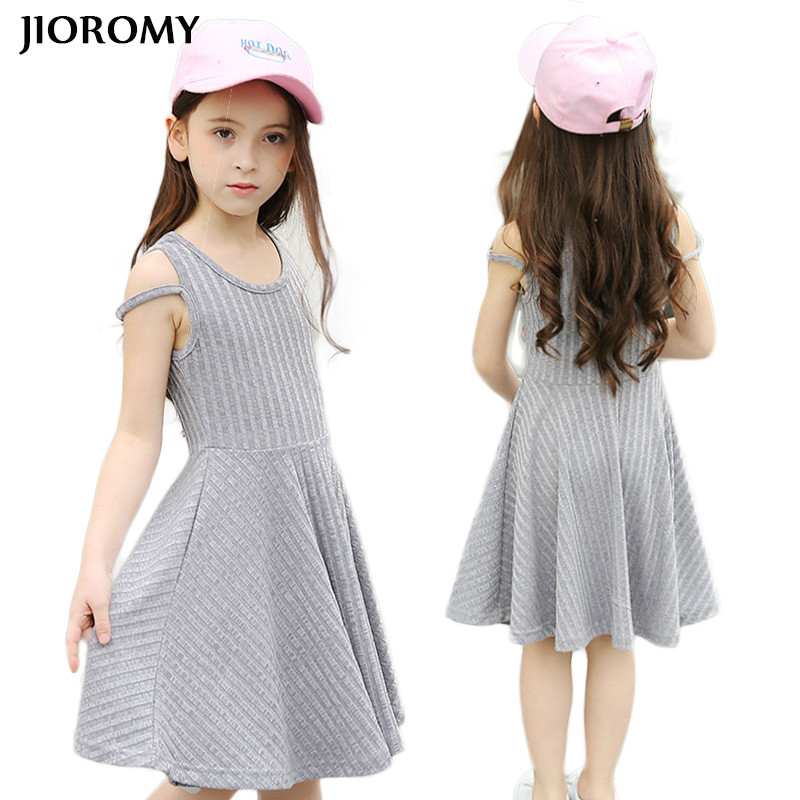 JIOROMY Big Girls Dress 2018 Summer New Princess Party Cotton Europe and United States Style Dress for Girls Kids Child Clothing 2017 children summer wear girl s printing in europe and the united states foreign trade dress sleeveless flower princess dress
