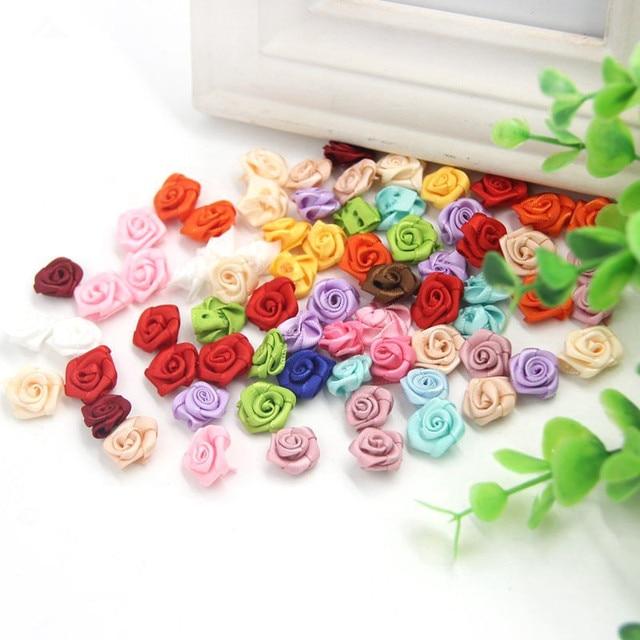 9be6c2c0dc3c 100 Unids lote Mini Satén Hecho A Mano Rose Rosetones de La Cinta de Tela