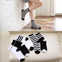 New Ladies In The Tube Cotton Socks Black White Stripes Simple Autumn Winter Wild Women 5 Styles