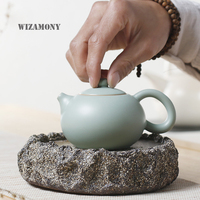 WIZAMONY Gerçek Pot Ru Fırın Seladon Zisha Seramik Sanatları Tay Thi çay seti Çin Çaydanlık Porselen yixing Kil Antika Demlik