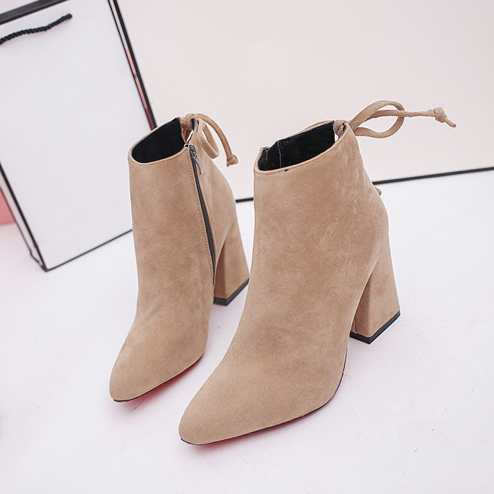 autumn winter  boots for women Short Cylinder Boots Stylish High Heel Ankle Boots Abkle Knot Winter Shoes #NFA