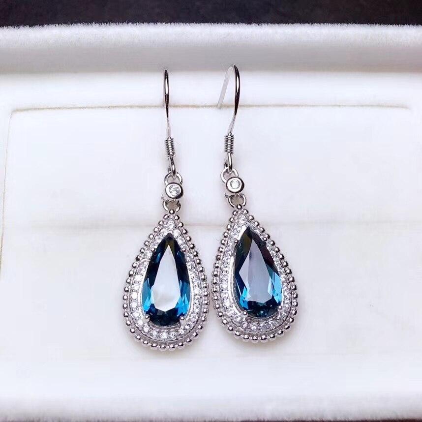 Natural blue topaz gem drop earrings 925 silver natural gemstone earrings Luxury long big Water droplets women Earrings jewelry цена 2017