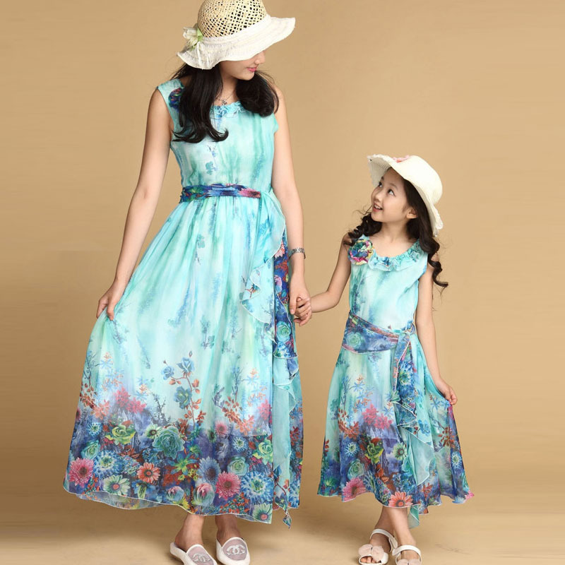 Buy 2017 Summer Style Family Clothing Mom And Daughter Bohemian Floral Dress