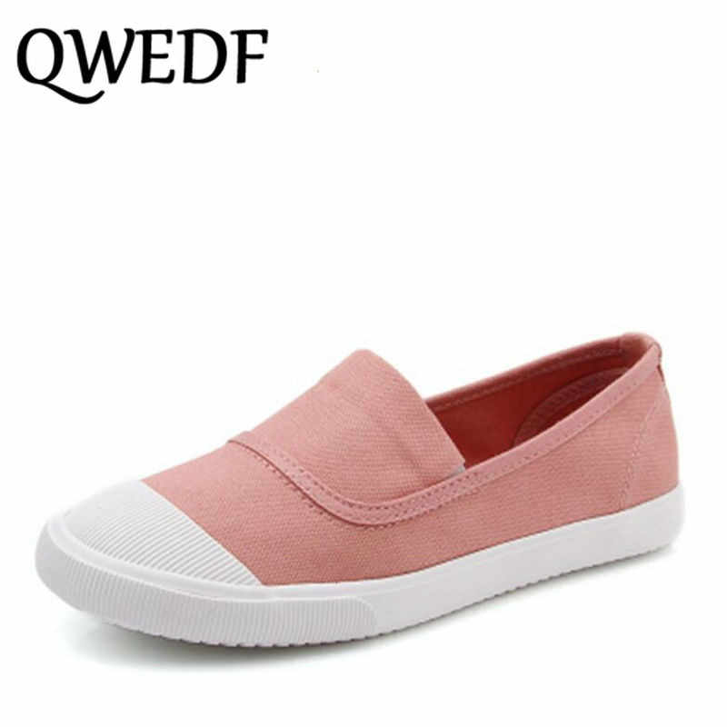 d6822bc27c8f QWEDF 2018 young women casual shoes Breathable sneaker shoes fashion slip  on canvas shoes comfortable flat