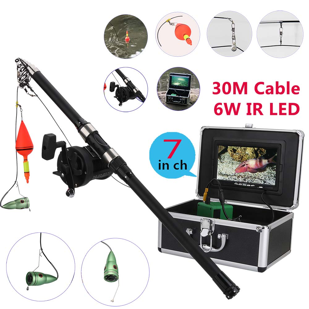Aluminum alloy Underwater Fishing Video Camera Kit 6W IR LED Lights with 7 Inch HD  Color Monitor Sea wheel 30m CableAluminum alloy Underwater Fishing Video Camera Kit 6W IR LED Lights with 7 Inch HD  Color Monitor Sea wheel 30m Cable