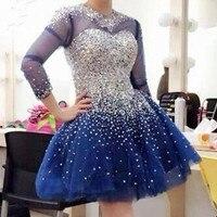 Темно синие Спарки серебристыми бусинами короткие Платья для женщин для выпускного вечера с длинным рукавом длиной выше колена Рождество В