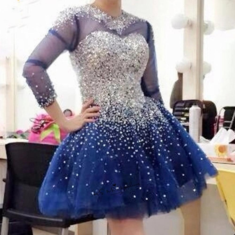 Bleu marine Sparky argent perlé robes courtes pour la fête de bal à manches longues au-dessus du genou robe de Graduation de noël de luxe retour
