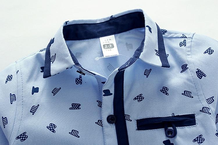 e6ec4d76 Boys Shirts Blouse Korean Children School Blouse Cotton Kids Shirts  White&blue Hat Pattern Shirts Long sleeve Gentleman Clothes-in Shirts from  Mother & Kids ...