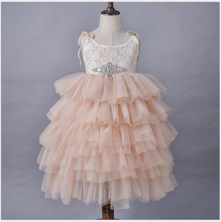 Soft Lace Floral Summer Maxi Dress Kids Birthday Party Princess Dresses long layered dress Mesh tiered