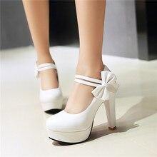 YMECHIC ฤดูร้อนสีขาวเจ้าสาวแต่งงานเจ้าสาว Mary Jane รองเท้า Hook Bowtie รองเท้าส้นสูงสีดำสีชมพูชุดปาร์ตี้รองเท้า