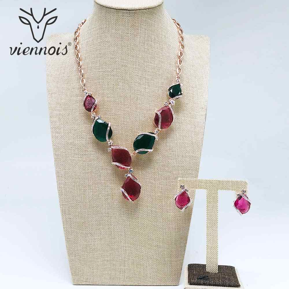 Viennois New Silver/ Rose Gold Color Rhinestone Stud Earrings Necklace Jewelry Set for Women Female Party Jewelry Sets